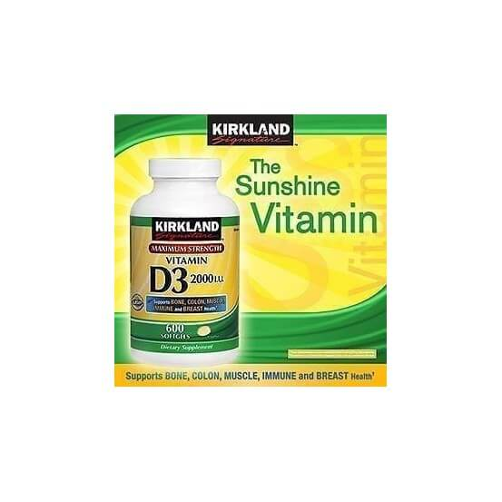 Vitamina D3 2000 UI 600 Softgels Kirkland Signature
