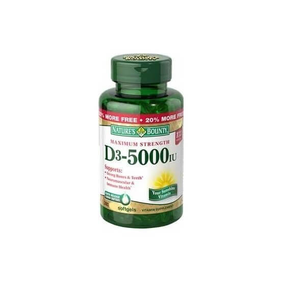 Vitamina D3, 5000ui, 300 Softgels, Nature's Bounty, 074312291722
