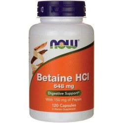 Betaína HCL, 648mg, 120 Capsulas, Now Foods