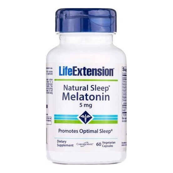 Natural Sleep Melatonin 5mg 60 Cápsulas Vegetarianas Life Extension