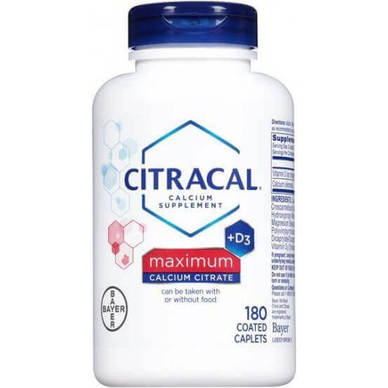 Citracal+D3 Calcium Citrate Maximum 180 Coated Caplets