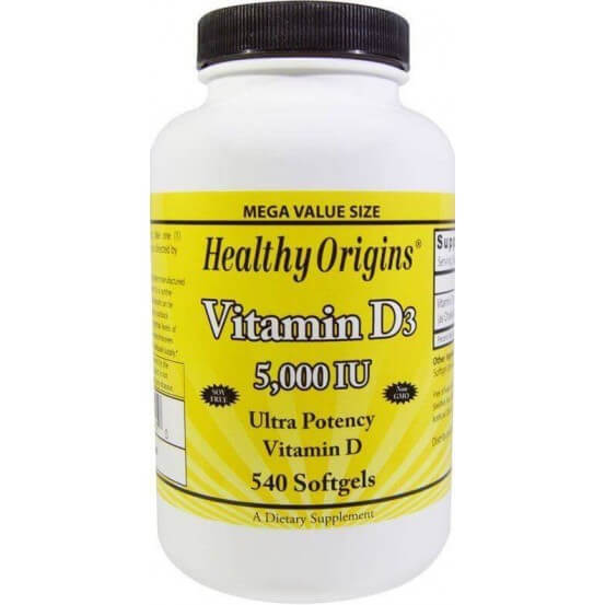 Vitamina D3 5000 ui 540 Softgels Healthy Origins 603573153410