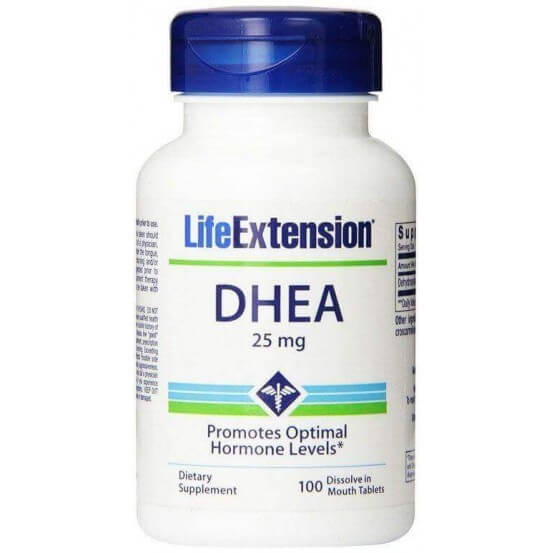 DHEA 25mg 100 Dissolve in Mouth Tablets Life Extension