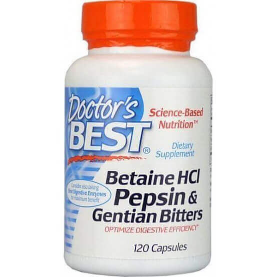 Betaina HCL Pepsin & Gentian Bitters Cápsulas Doctor's Best