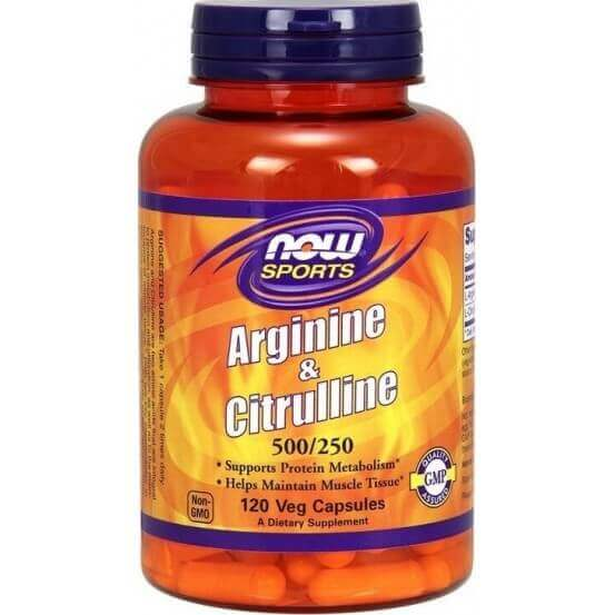 Arginina & Citrulina 500/250mg 120 Cápsulas Now Foods