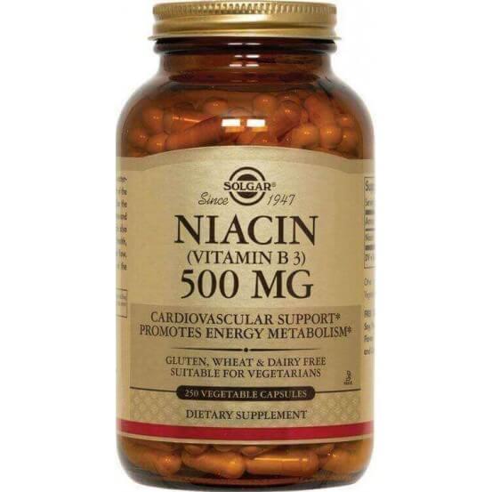 Niacina (Vitamina B3), 500 mg, 250 Cápsulas Vegetarianas, Solgar