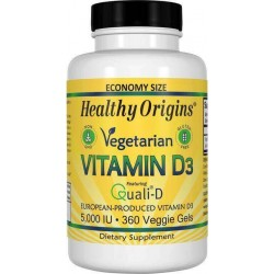 Vitamina D3, 5.000 ui, 360 Cápsulas Vegetais, Healthy Origins