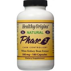 Controlador de Carboidratos de Fase 2, Extrato de Feijão Branco, 500 mg, 180 Cápsulas Vegetarianas, Healthy Origins