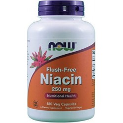 Niacina, Flush-Free, 250mg, 180 Cápsulas Vegetarianas, Now Foods