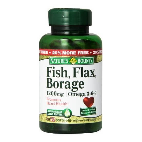 Fish, Flax, Borage, Omega 3-6-9, 1200mg, 72 Softgels, Nature's Bounty, 074312101519