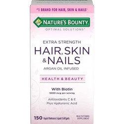 Optimal Solutions, Hair, Skin & Nails, Força Extra, 150 Softgels Líquidos de Liberação Rápida, Nature's Bounty