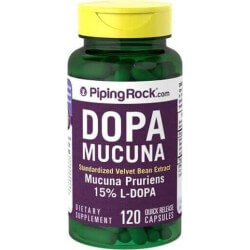 Dopa Mucuna, 350mg, 15% L-Dopa, 120 Capsulas, Piping Rock