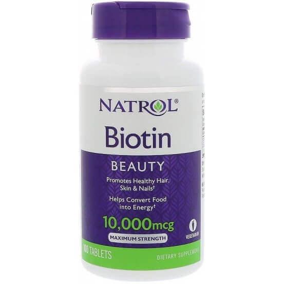 Biotina, 10.000mcg, 100 Comprimidos, Natrol