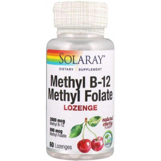 Metil B-12 Metil Folato, Sabor Natural Cereja, 60 Pastilhas, Solaray