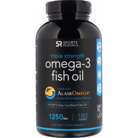 Omega-3, Tripla Força, 1250mg, 180 Softgels, Sports Research