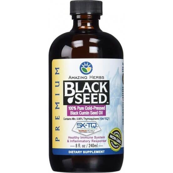Óleo de Cominho Preto (Black Seed Oil) 240ml, Amazing Herbs