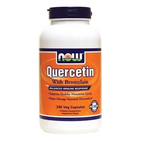 Quercetin com Bromelian 240 capsulas Now foods 733739030719